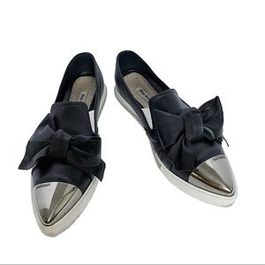 Miu Miu Leather Slip on Sneakers w Chrome Detail
